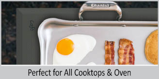 Stainless Steel tri-ply griddle chantal 21 supreme tri-ply collection premium no nickel non-toxic cookware with unique off-set handles 19