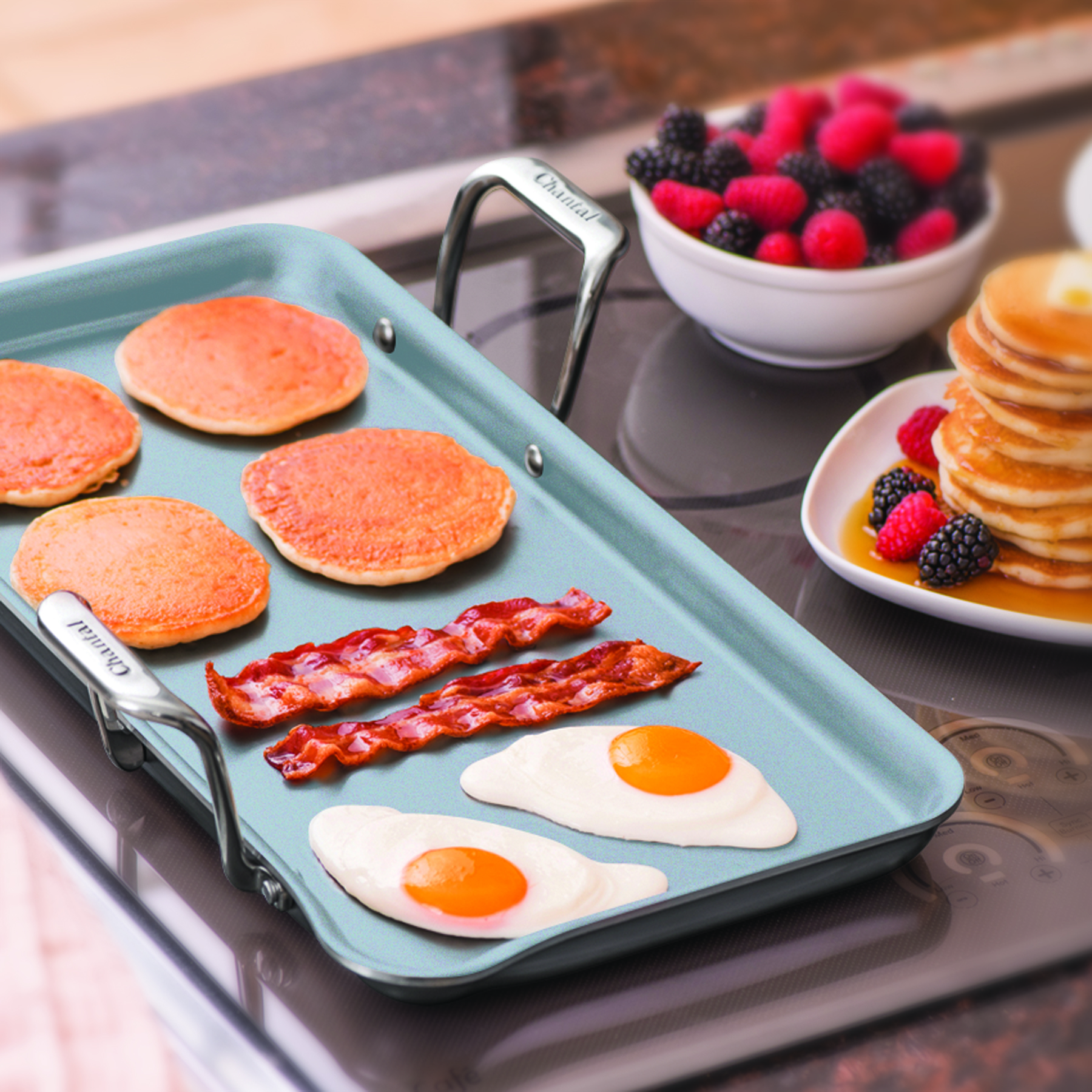 nonstick griddle with Eterna coating featuring eggs bacon and pancakes