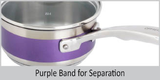 Stainless Steel saucepan chantal AllergenWare cookware collection no nickel non-toxic cookware 1 quart capacity purple exterior color