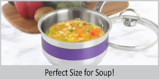 Stainless Steel saucepan chantal AllergenWare cookware collection no nickel non-toxic cookware 1 quart capacity purple exterior color perfect size for soup
