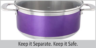 Stainless Steel casserole chantal AllergenWare cookware collection no nickel non-toxic cookware 6 quart capacity purple exterior color
