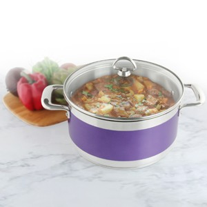 Stainless Steel casserole chantal AllergenWare cookware collection no nickel non-toxic cookware 6 quart capacity purple exterior color in action