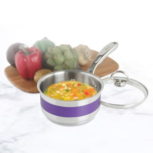 Stainless Steel saucepan chantal AllergenWare cookware collection no nickel non-toxic cookware 1 quart capacity purple exterior color in action