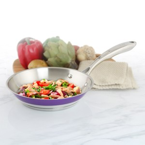 Stainless Steel frypan chantal AllergenWare cookware collection no nickel non-toxic cookware 8 inch diameter purple exterior color in action
