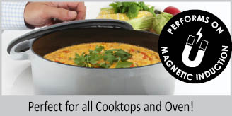 cast-iron round dutch oven with premium enamel interior & exterior 5 quart stainless knob perfect for stews soups braising and searing pewrfect for all cooktops