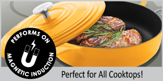 cast-iron round skillet with premium enamel interior & exterior 4 quart capacity perfect for searing pan-frying baking roasting works on all cooktops