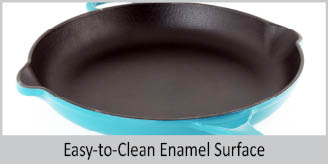 cast-iron round skillet with premium enamel interior & exterior 10 inch diameter perfect for searing pan-frying baking roasting easy to clean enamel surface