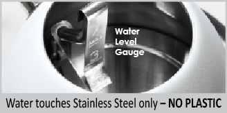 stainless interior no water touches plastic