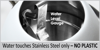 stainless steel interior no water touches plastic  internal water level gauge