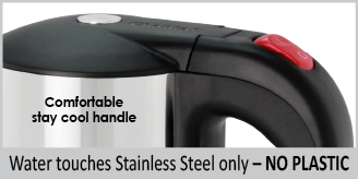stainless steel interior no plastic touches water comfortable stay cool handle