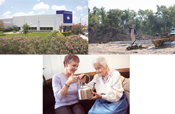 collage of Eva Zeisel and new building