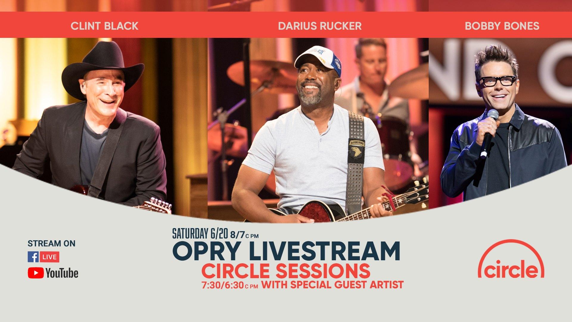 Darius Joins Clint Black & Bobby Bones on Opry Livestream