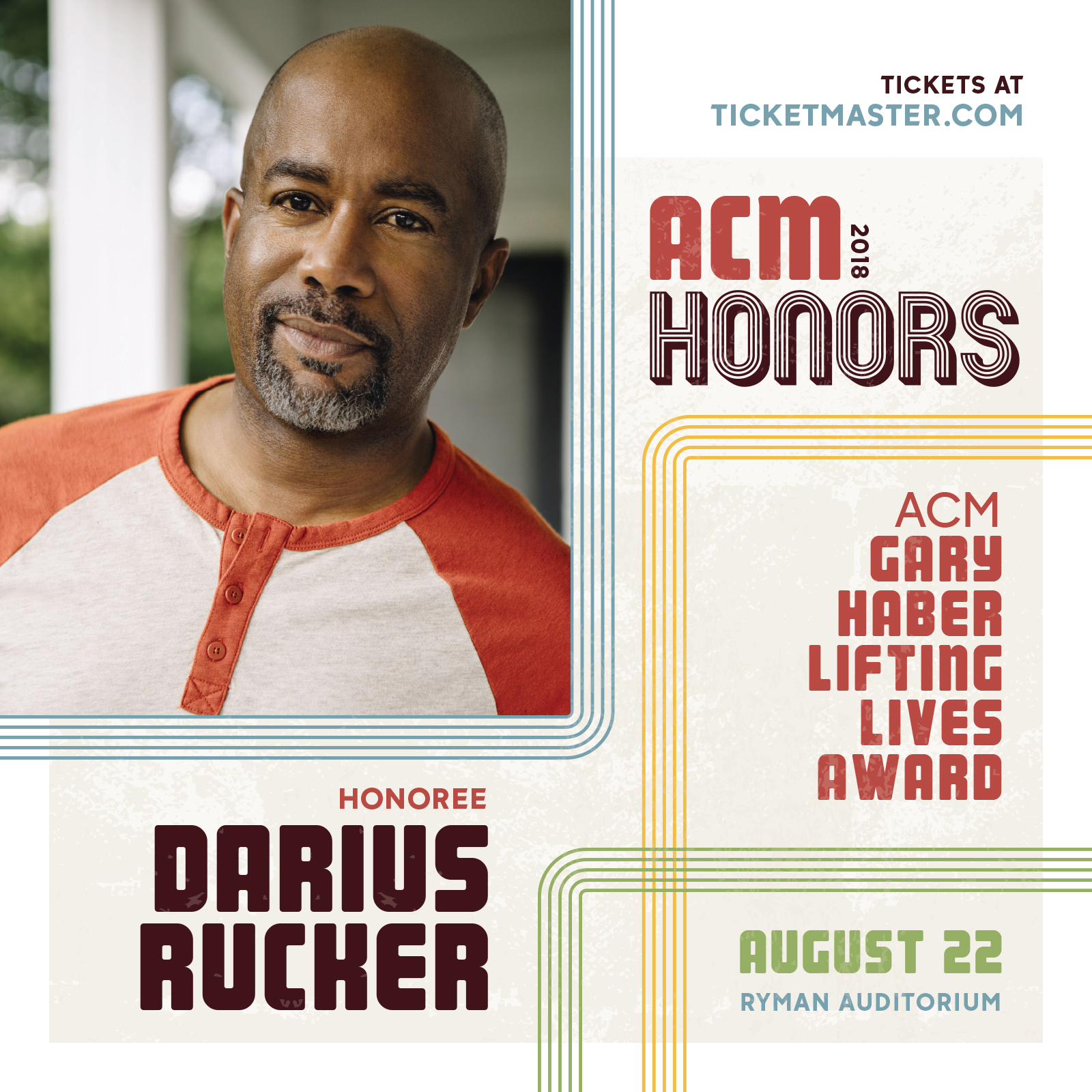 Darius To Accept the ACM Gary Habers Lifting Lives Award at ACM Honors 2018