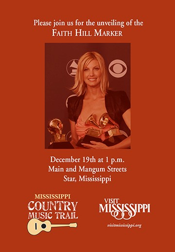 Mississippi to Unveil Country Music Trail Marker Honoring Faith Hill
