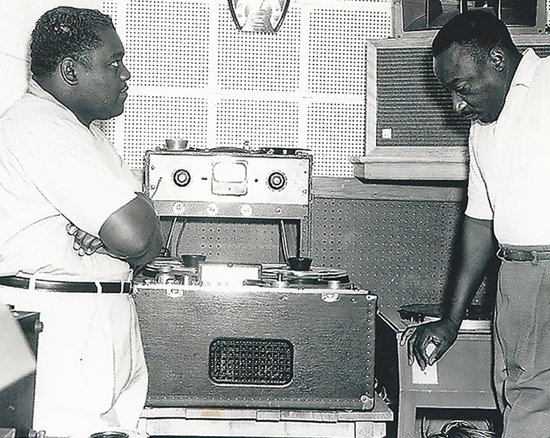 Fats Domino and Dave Bartholomew in the studio