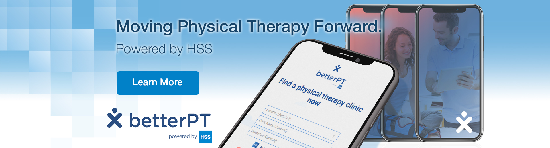 Mobile phone with BetterPT application. And text on image: Moving physical therapy forward. Powered by HSS. Click to learn more about BetterPT