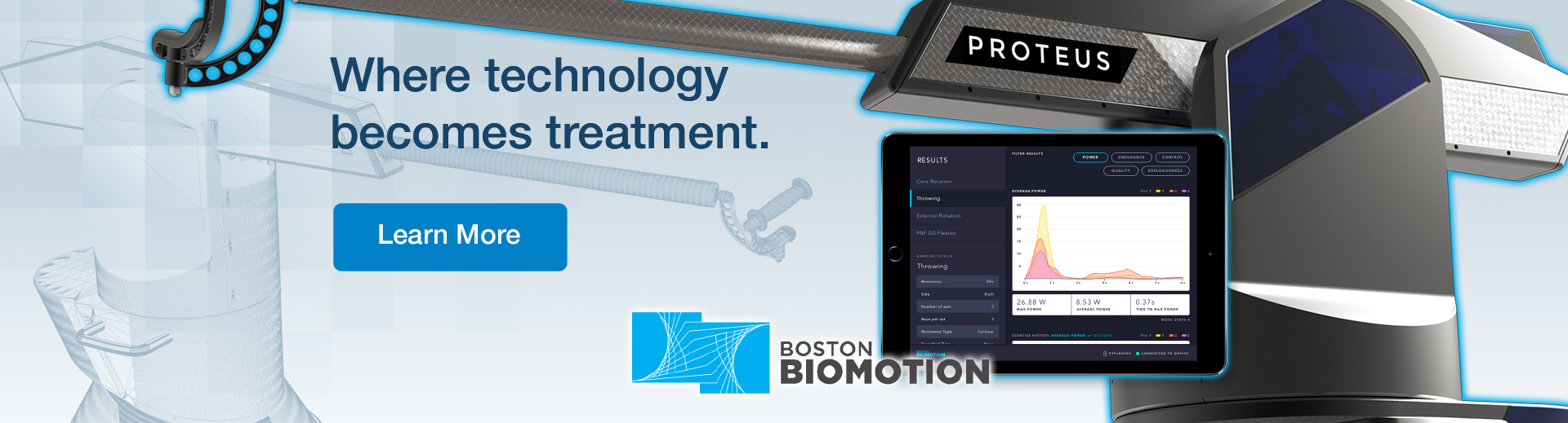 Laptop with HSS application. And the text on image: where technology becomes treatment. Click to learn more about Boston Biomotion