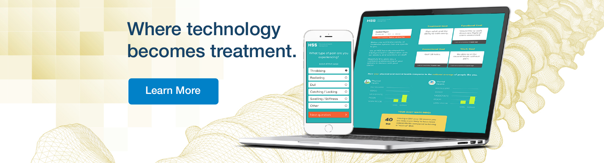 Laptop with HSS application. And the text on image: where technology becomes treatment. Click to learn more about Personalized Health Management Tool