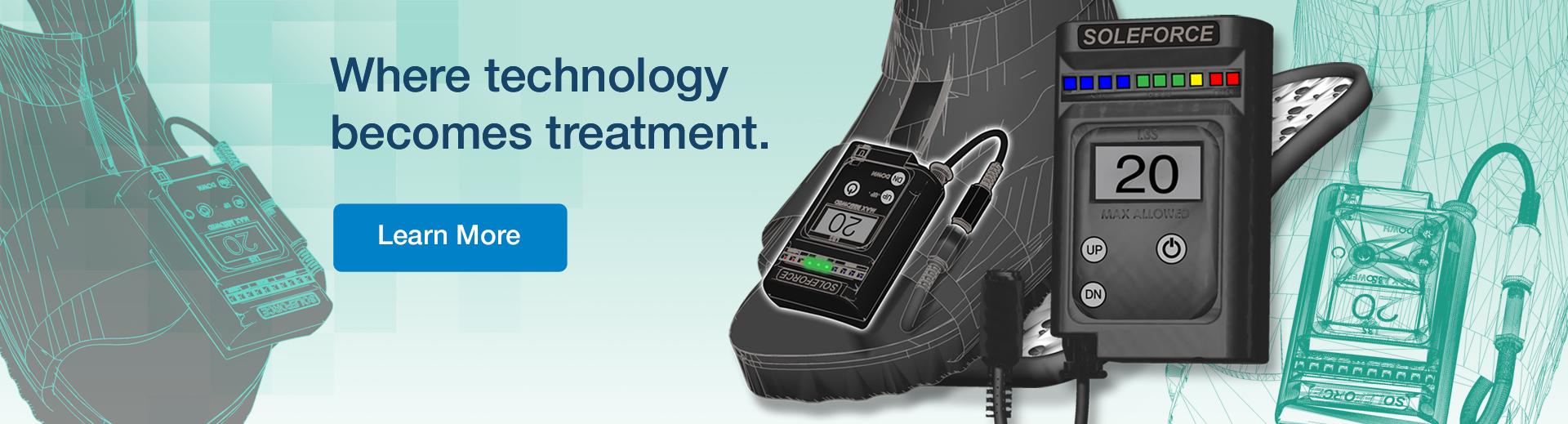 Boot with a special device. And the text on image: where technology becomes treatment