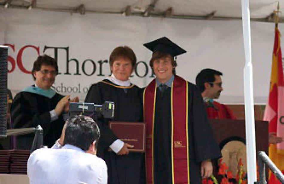 "John receives USC Thornton Legacy Award & awards the ""John Fogerty Scholarship"""