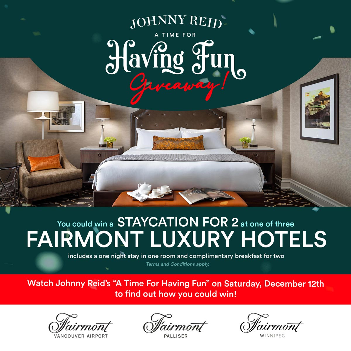 You could win a Staycation for 2 at one of three Fairmont Hotel locations