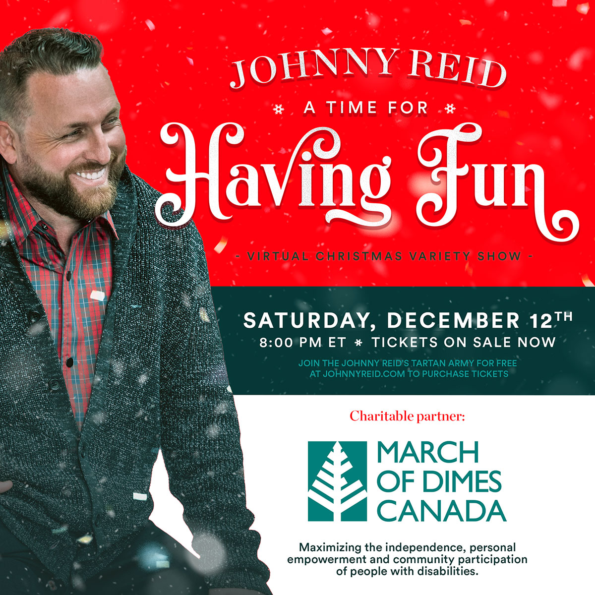 March of Dimes Canada Announced as Charitable Partner for Johnny Reids A Time For Having Fun Virtual Christmas Variety Show