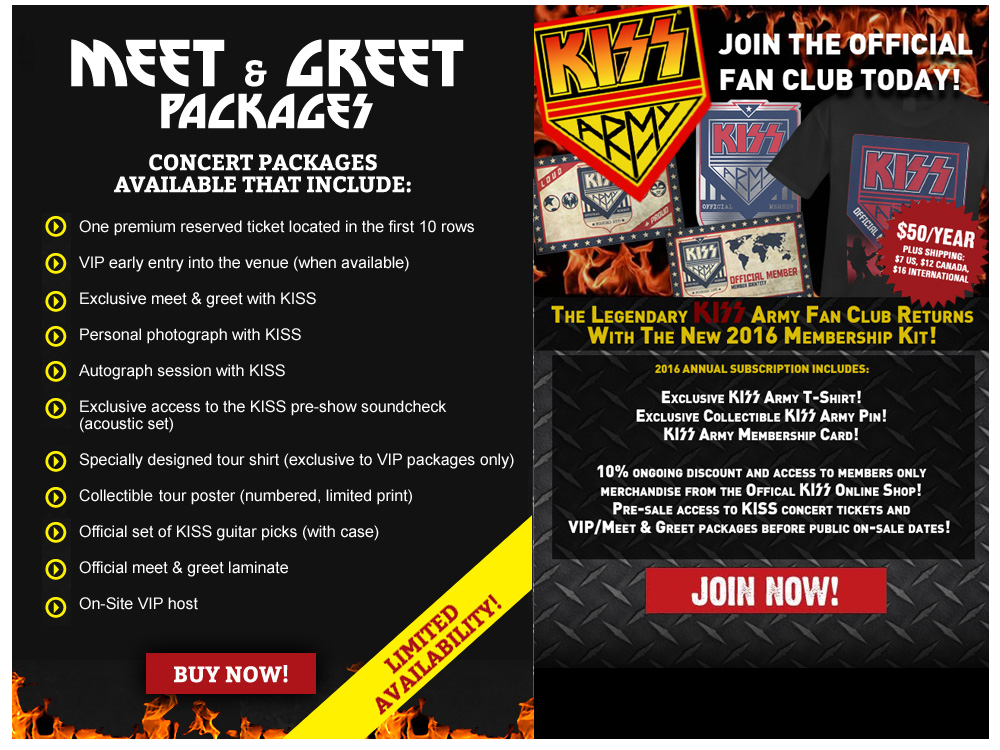 Join the Concert Club and buy Meet and Greets with KISS
