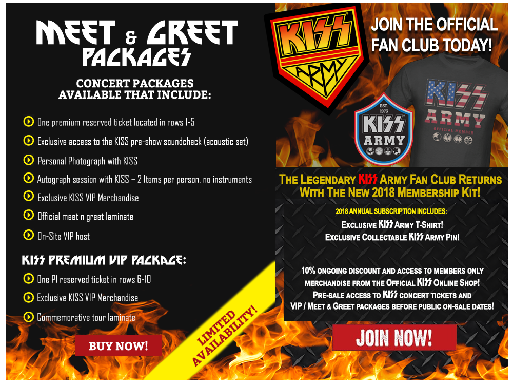 Join the KISS Army and buy Meet and Greets with KISS