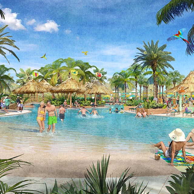 watercolor rendering of a couple enjoying the many beach-inspired amenities, beach access and tiki hut cabana around the community swimming pool