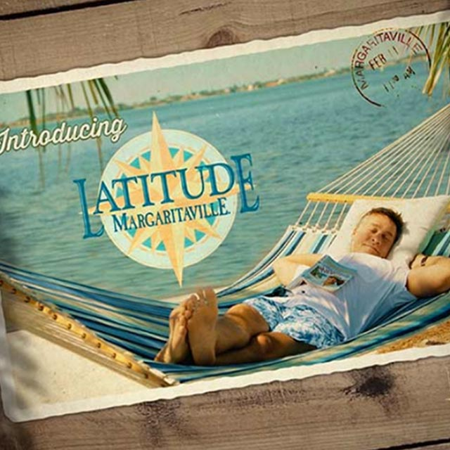 image of a man relaxing in a hammock with the Latitude Margaritaville logo to his left for the video clips