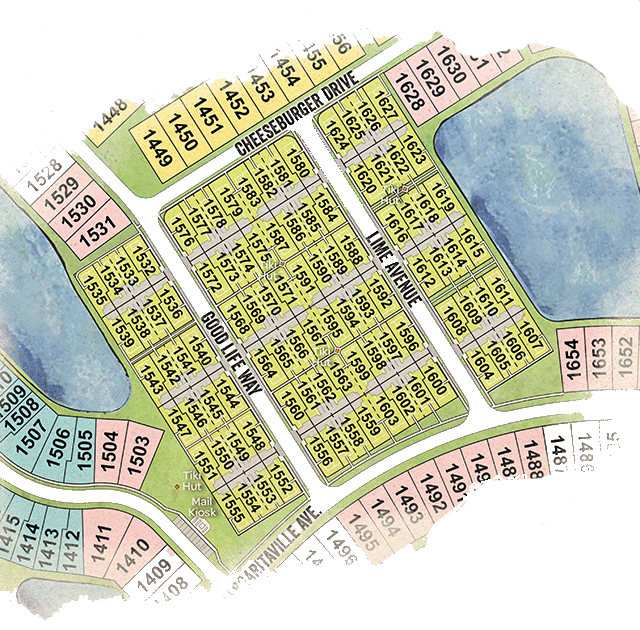 Latitude Margaritaville Conch Cottage site plan with arial layout of the Daytona Beach development