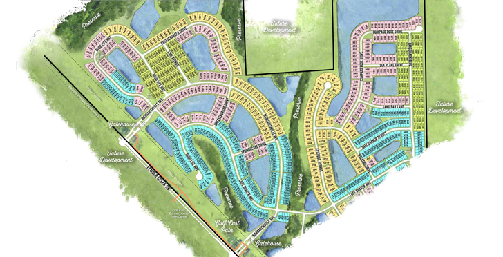 Latitude Margaritaville phase three/four site plan with arial layout of the Daytona Beach development