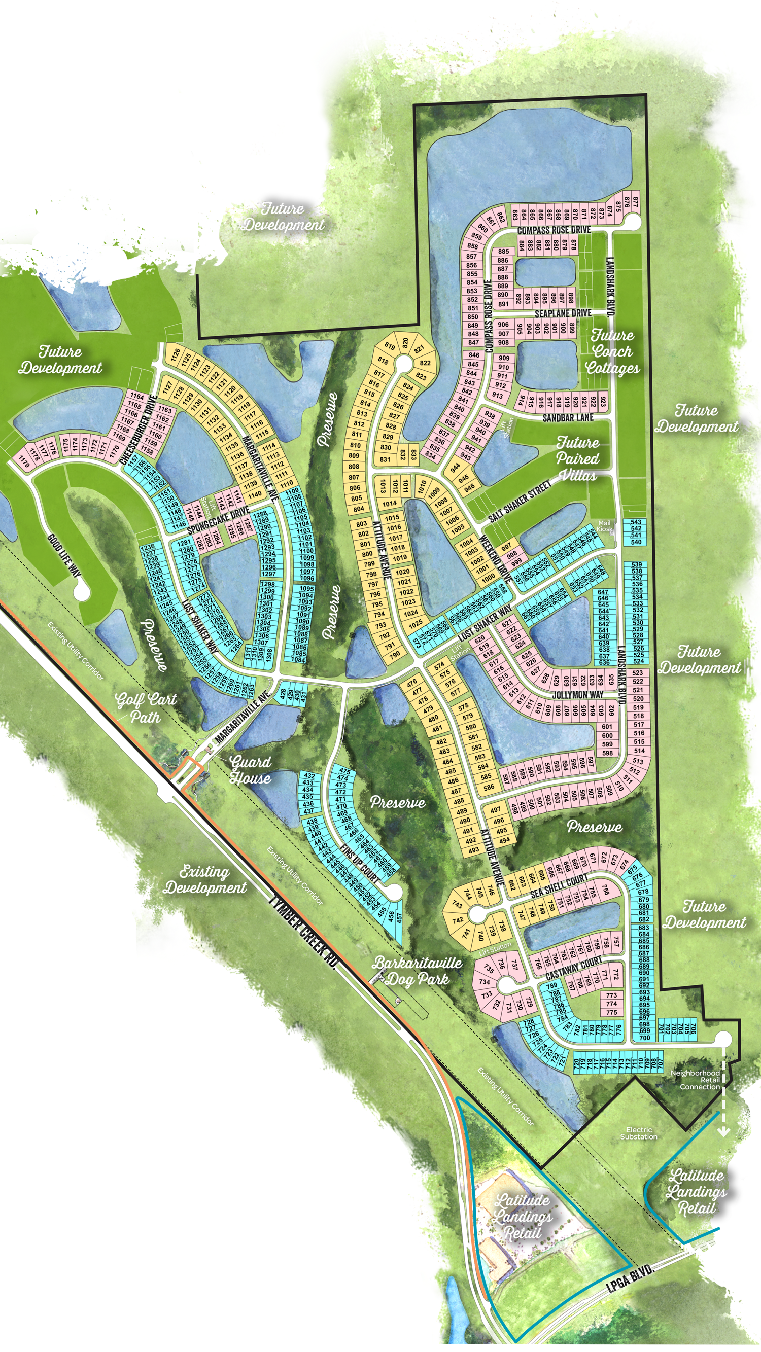 Latitude Margaritaville phase two site plan with arial layout of the Daytona Beach development