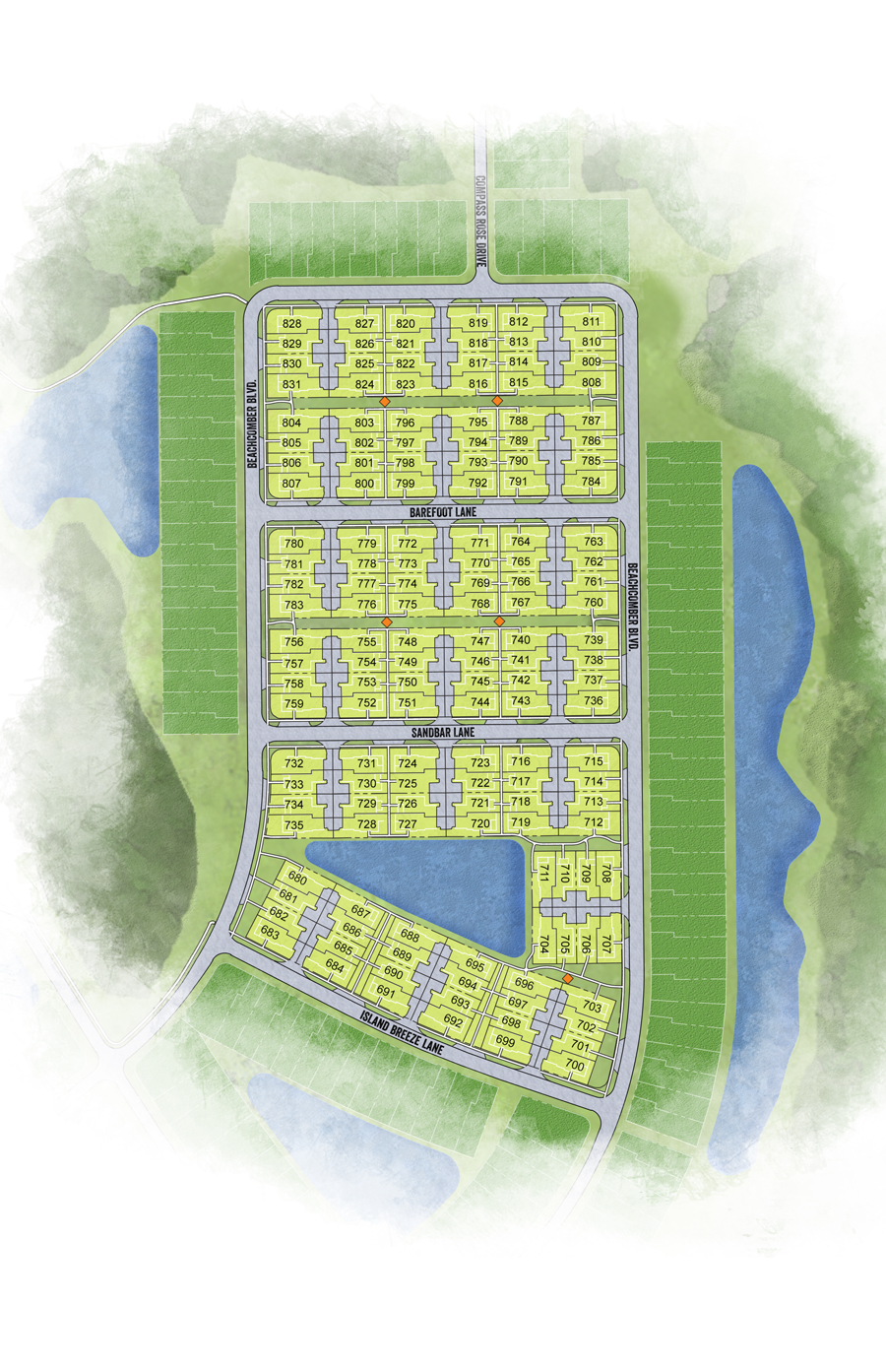 Latitude Margaritaville Hilton Head Plan Conch Cottage site plan and interest