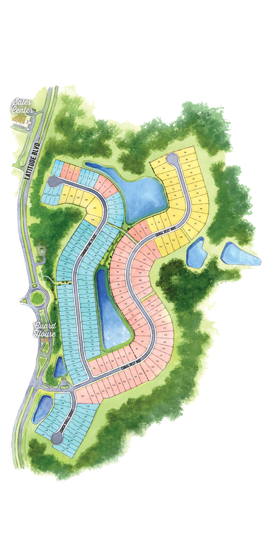 Latitude Margaritaville Hilton Head Plan with areas of community amenities and interest