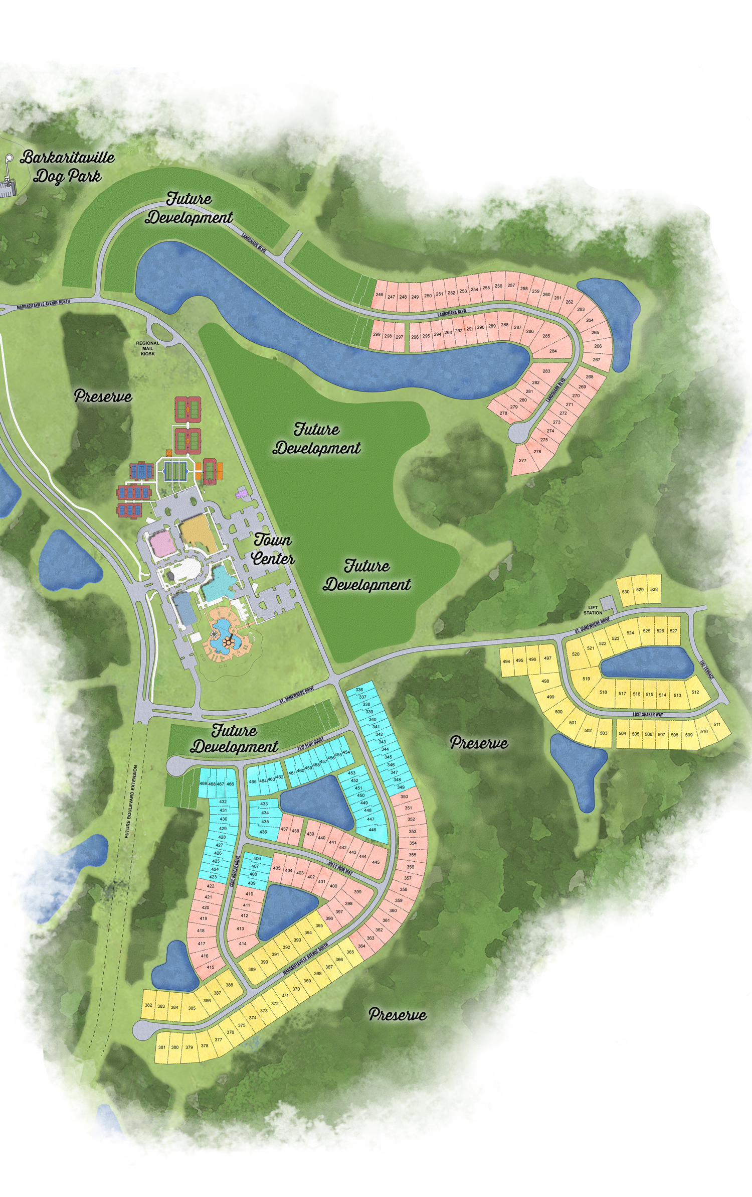 Latitude Margaritaville Hilton Head Plan with areas of community Phase 2 site plan and interest
