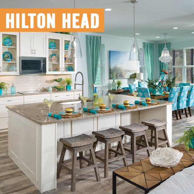 Latitude Margaritaville Hilton Head logo overlaying a model home