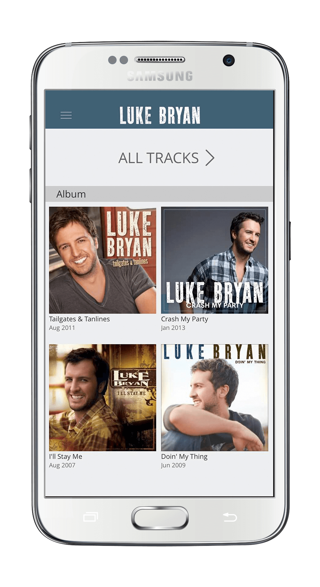 image of an iPhone showing a grid of 4 thumbnail pictures of Luke Bryan in various poses and clothing