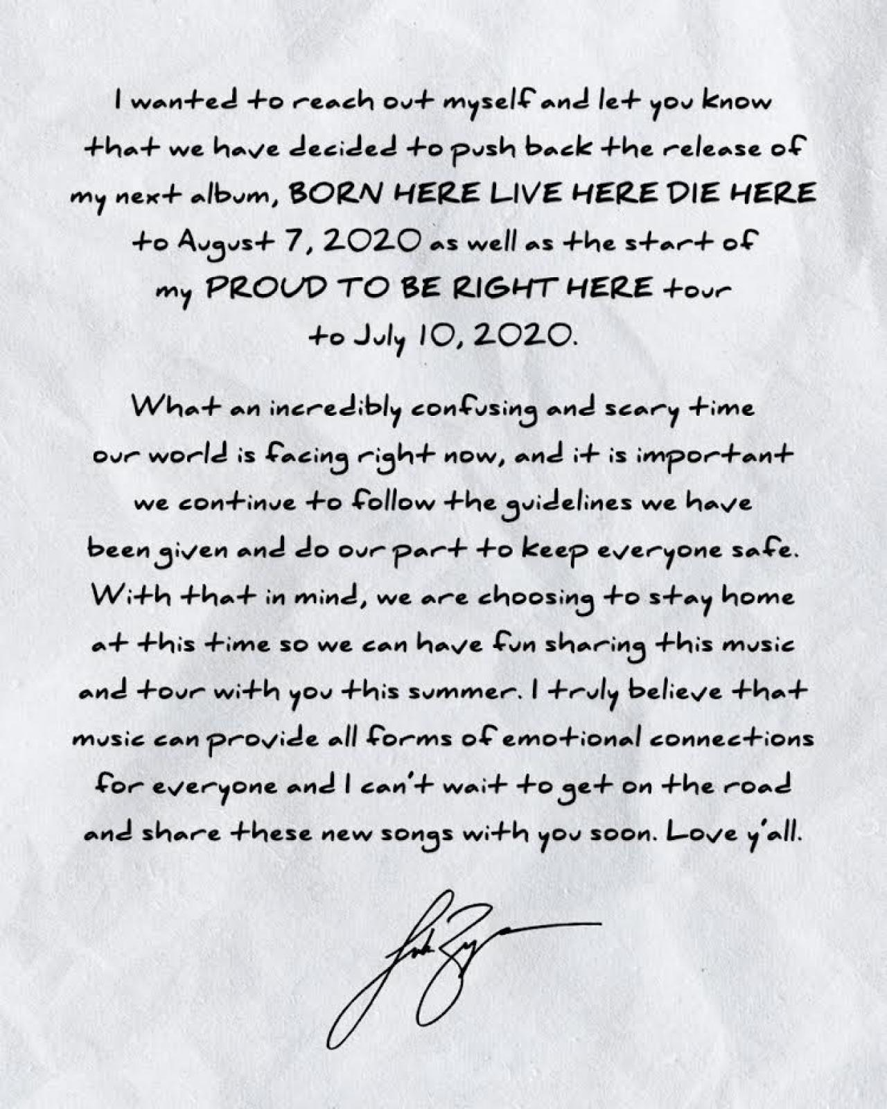 A note from Luke Bryan...