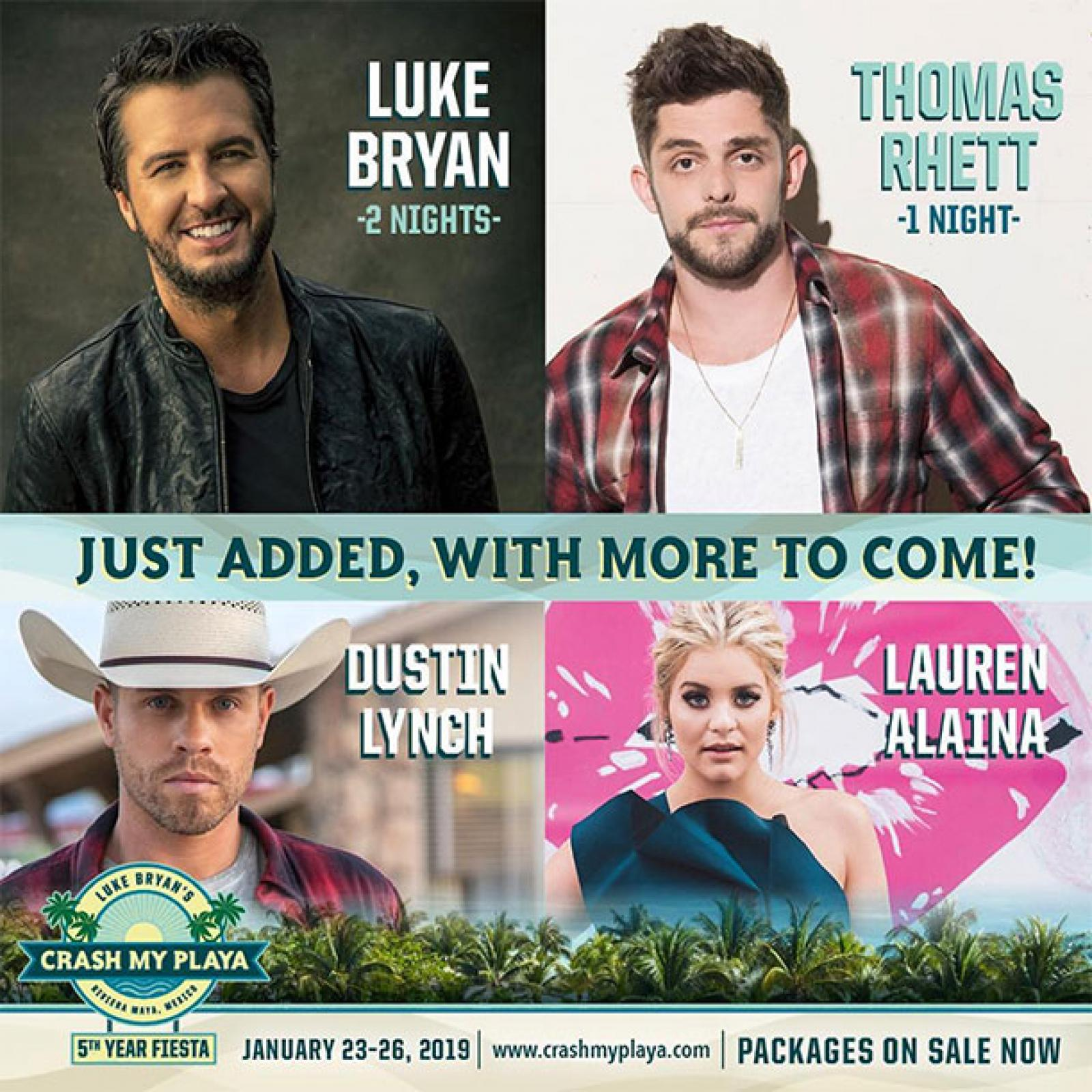 Luke Bryan's Crash My Playa - 5th Year Fiesta Adds First Wave of Performers