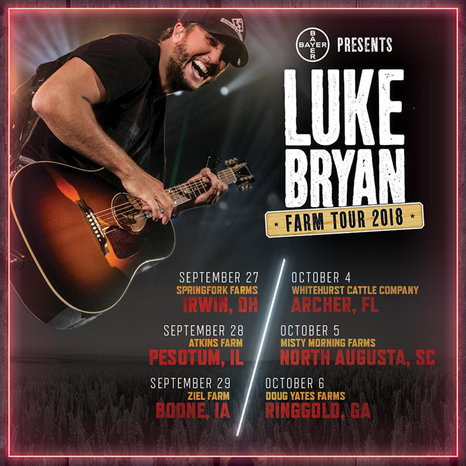 Image result for luke bryan 2018 farm tour announcements