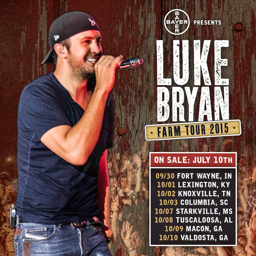 Luke Bryan Farm Tour Tickets >> LUKE BRYAN Tour Dates 2016 - 2017 - concert images & videos TourLALA.com