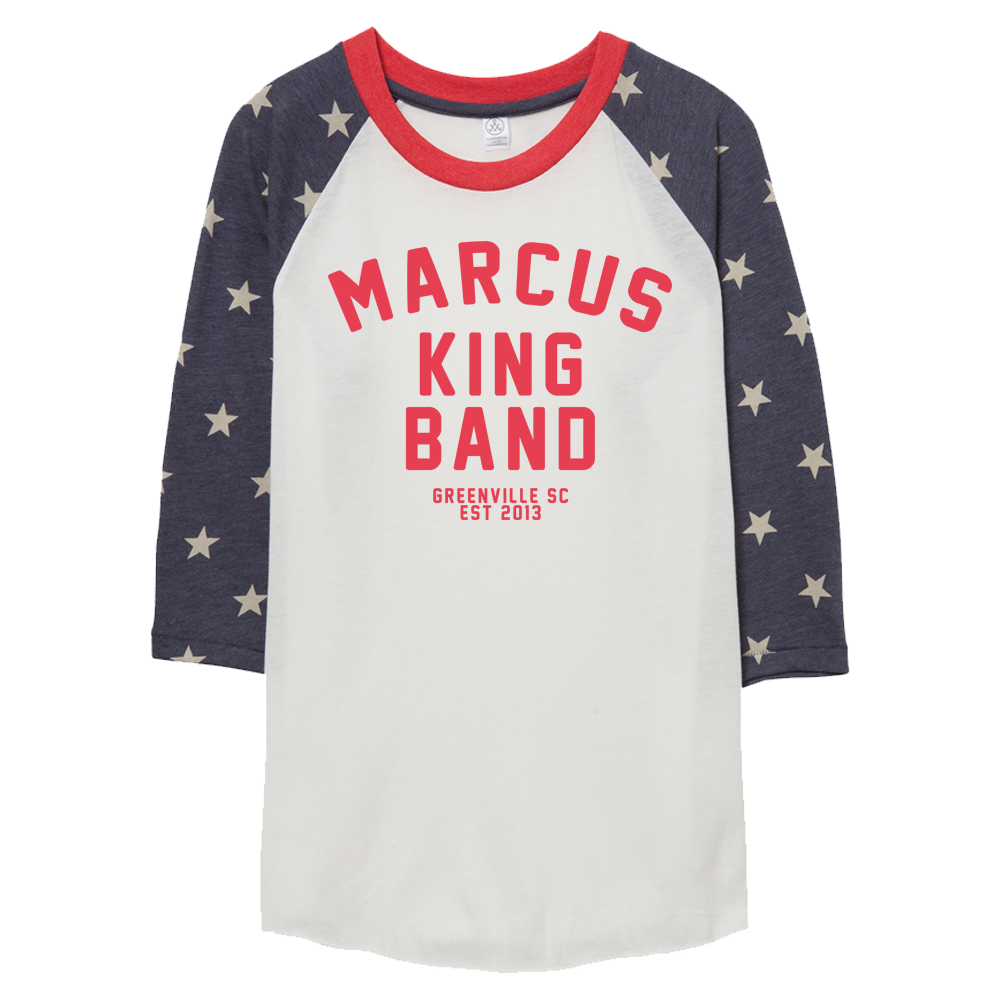 Image of the new Marcus King Band T-shirt, white in color with red banding collar and sleeve accents