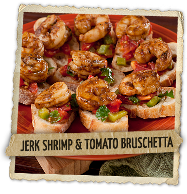 Jerk Shrimp & Tomato Bruschetta