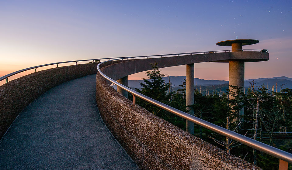 winding elevated walkway overlooking the great smoky national park