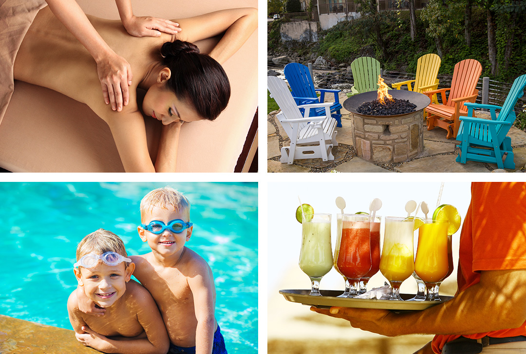 Collage of four images including a woman enjoying a spa experience, adirondack, multi-colored chairs surrounding a slate covered firepit, two children at the pool and a waiter delivering troical drinks