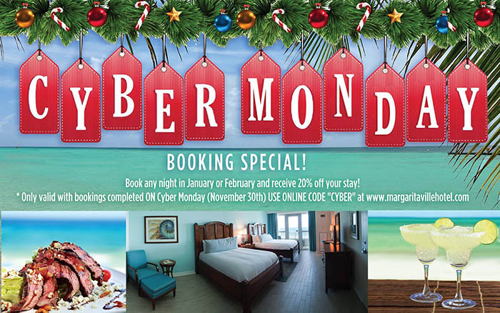 Save on bookings at the Margaritaville Beach Hotel in Pensacola, FL in January and February on Cyber Monday only!