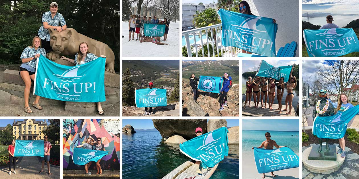 A collage of photos of people with Fins Up flag