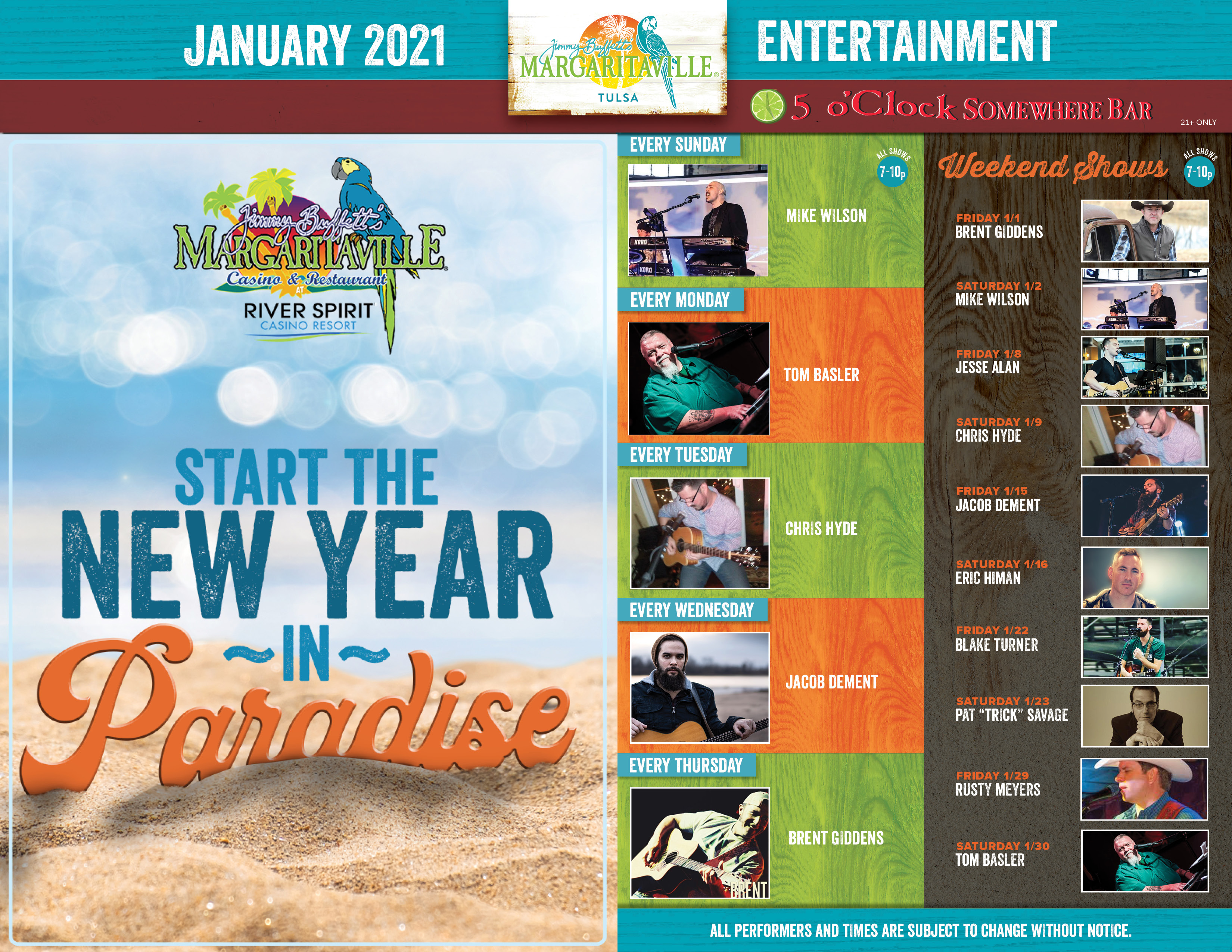 Margaritaville Tulsa January 2021 Calendar of Events. Visually impaired customers please call for assistance or read next tab