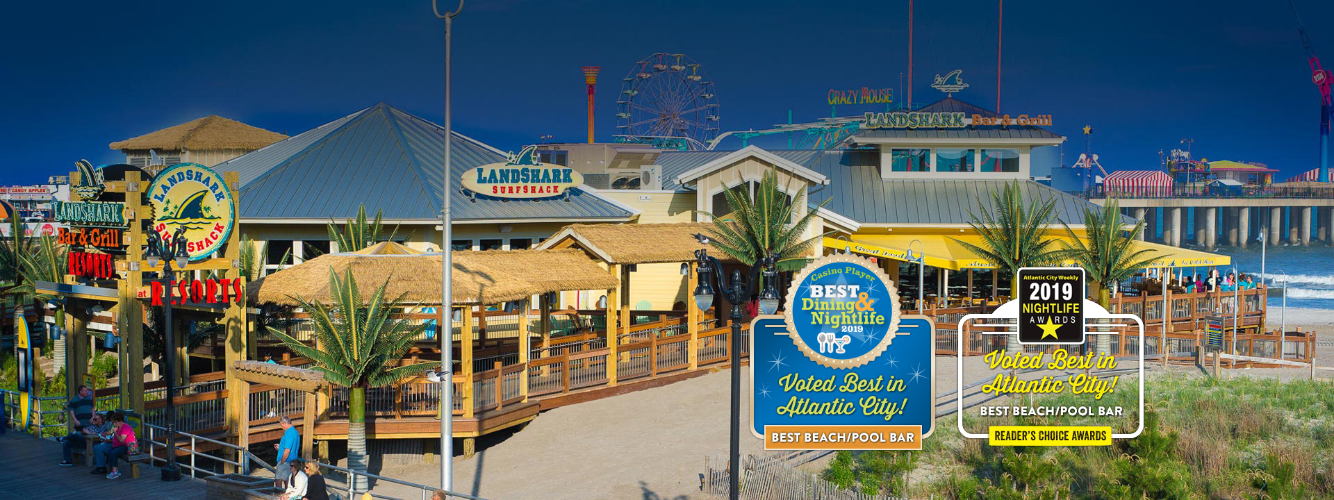 Restaurant building and text: Voted Best in Atlantic City! Best beach/pool bar. Reader's choice awards